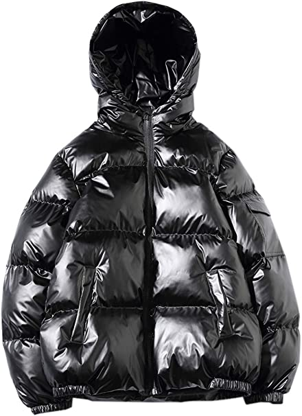 Balakie Detachable Hood Jacket Solid Padded Bubble Coat Mens Thicken Outerwear