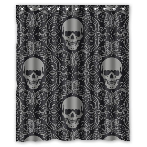 100% Polyester Waterproof Dark Balck World Design Skull with Lacy Pattern Around Shower Curtain 36 * 72(inches) Bathroom Decor,Shower Rings
