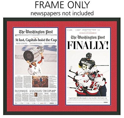 Washington Post Newspaper Frame - with Washington Capitals Colors Double Mat (Washington Wall Covers)
