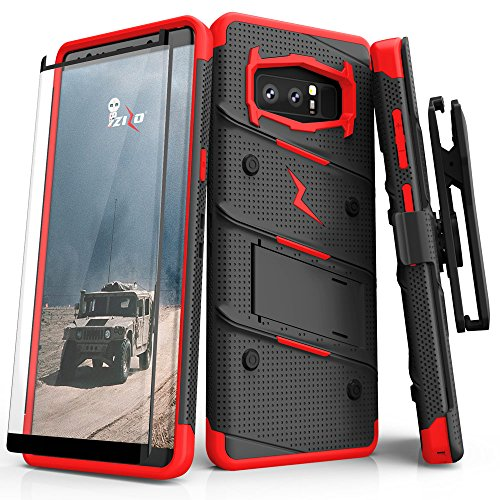 ZIZO Bolt Series Samsung Galaxy Note 8 Case Military Grade Drop Tested with Tempered Glass Screen Protector Holster Black RED