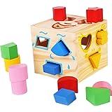 木製玩具 赤ちゃん ぱずるボックス 型はめ キッズ 積み木 ブロック 木のおもちゃ マッチング 幾何認知 図形認知 幼児用 はめこみ 誕生日 立体パズル ブロック 楽しく学ぶ 脳活性化 15穴 1歳/2歳/3歳