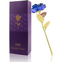 Rosa 24 K placcato oro rosa fiore con confezione regalo migliore regalo per San Valentino, festa della mamma Natale compleanno d' oro/rosso/viola/blu