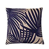 Calla Angel CAPDMX15002 Blue Embroidered Palm Leaf Throw Pillow,Blue,20