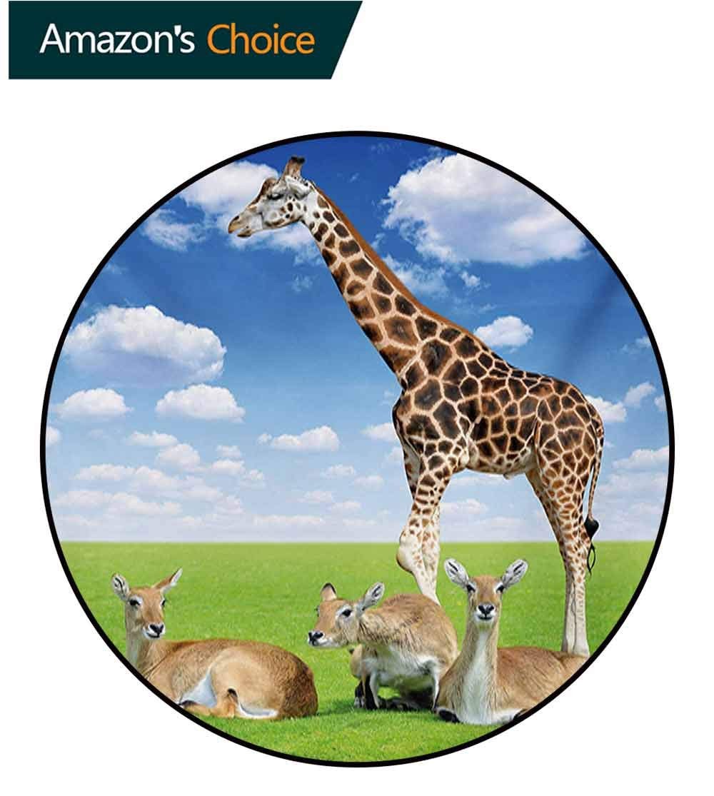 RUGSMAT Giraffe Modern Washable Round Bath Mat,Antelope and Giraffe On Green Meadow Zoo African Animals in Tropic Atmosphere Non-Slip Bathroom Soft Floor Mat Home Decor,Round-51 Inch