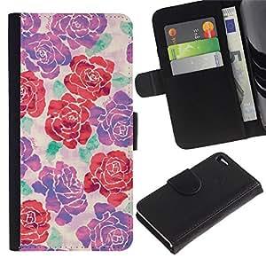A-type (Purple Red Floral Spring Pattern) Colorida Impresión Funda Cuero Monedero Caja Bolsa Cubierta Caja Piel Card Slots Para Apple Apple iPhone 4 / iPhone 4S