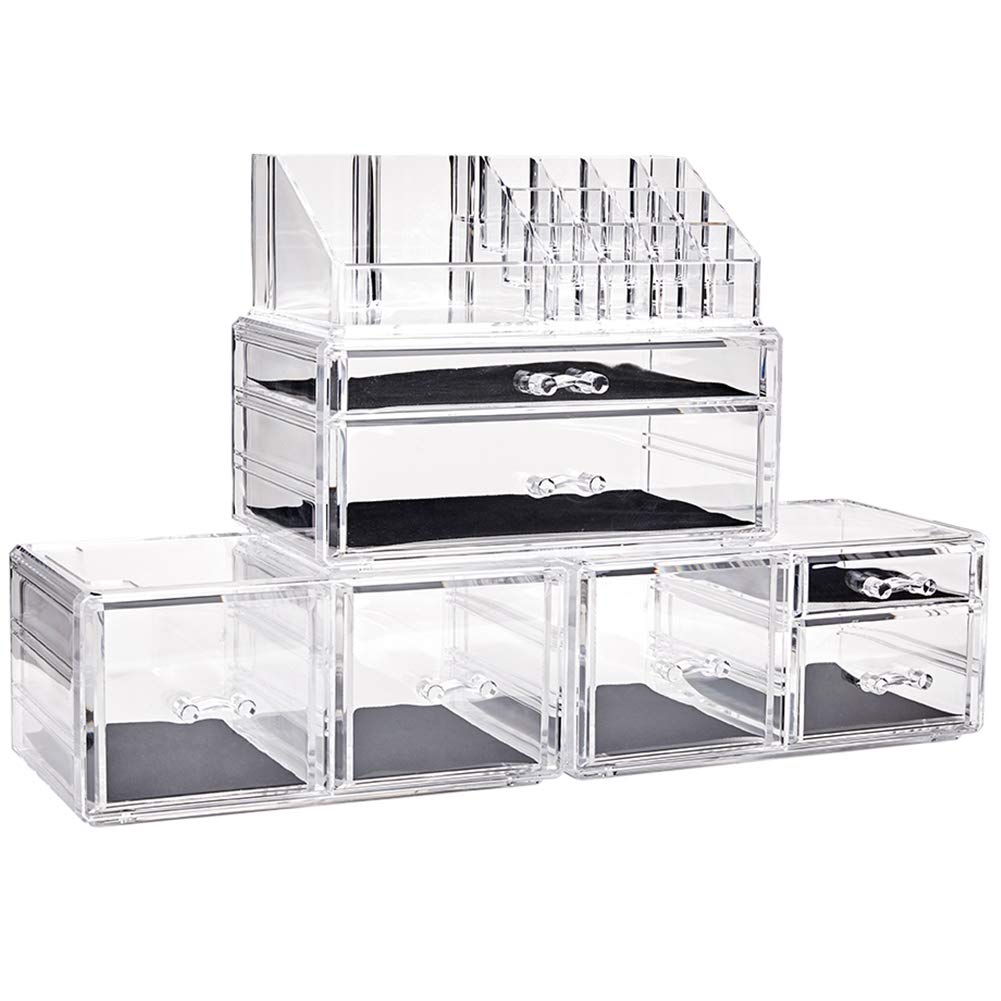 InnSweet Makeup Organizer Acrylic Cosmetic Storage Drawers, Large Makeup Storage Boxes Jewelry Display Cases with 7 Drawers, 4 Piece, Transparent