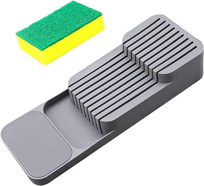 Home & Kitchen›Knife Blocks & Storage Holder with 1pc Free Dishtowel Knife Block Set Flatware Organizers Holders & Protectors (Gray)