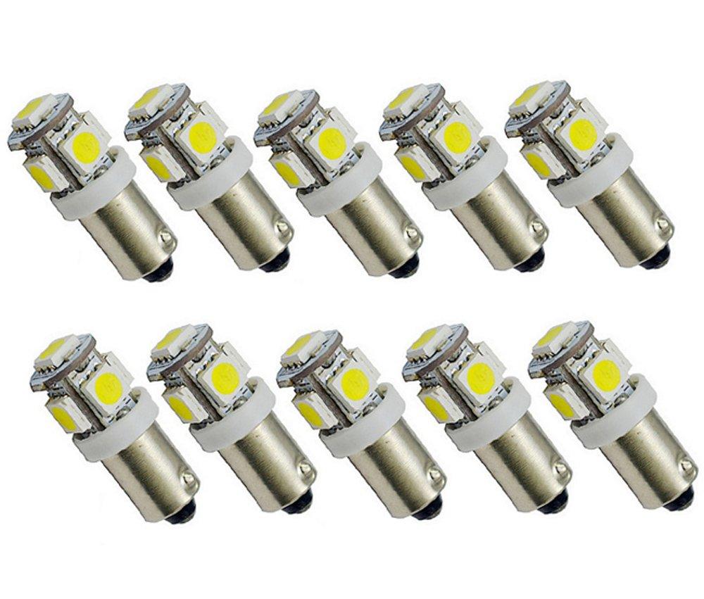 10x BA9s T4/W Dome Side Light Bulbs 5/SMD LED 5050/Light White 12/V