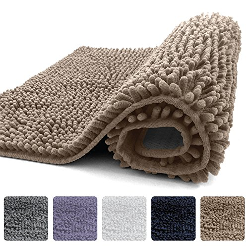 KANGAROO Plush Luxury Chenille Bathroom Rug Mat (30 x 20), Extra Soft and Absorbent Shaggy Rugs, Machine Wash/Dry, Strong Underside, Perfect Carpet Mats for Tub, Shower, and Bath Room (Beige)