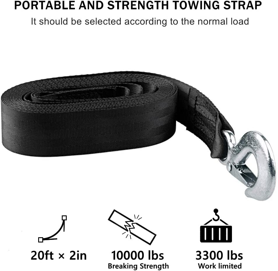 Polyester Black Boats and Jet Ski KONON Trailer Winch Strap 2 x 20 with Safety Snap Hook 10000 lbs for Towing Vehicles