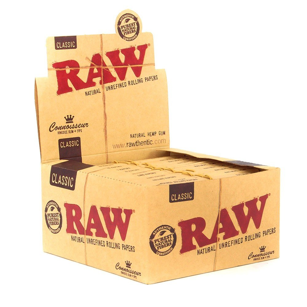 96x RAW Classic Hemp Connoisseur Kingsize Slim Rolling Papers + Tips - 4 Boxes