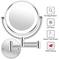 "AmnoAmno 8.5"" LED Double Sided Swivel Wall Mount Makeup Mirror-10x Magnification,13.7"" Extension,Touch Button Adjustable Light,Chromium,Shaving in Bedroom or Bathroom (8.5 inch)"