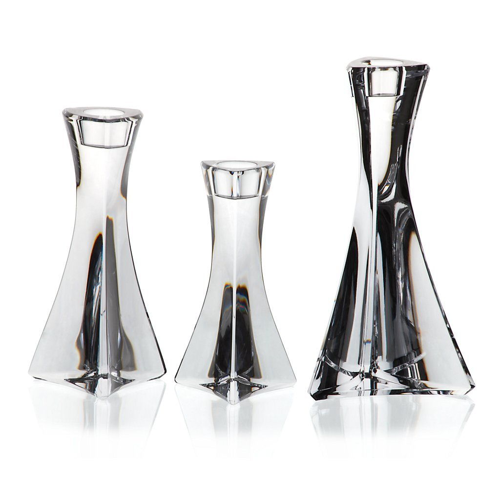 Set of 3 candle holder, Crystal Candlestick, Collection TRITON, 13, 16 et 19 cm, handmade, transparent (GERMAN CRISTAL powered by CRISTALICA) GW01594