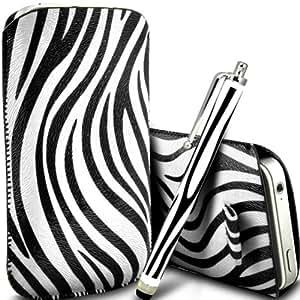 Samsung Galaxy Core Plus G3500 Protección Premium de Zebra PU ficha de extracción Slip In Pouch Pocket Cordón piel cubierta de la caja de liberación rápida y Stylus Pen Blanco y Negro por Spyrox y Stylus Pen
