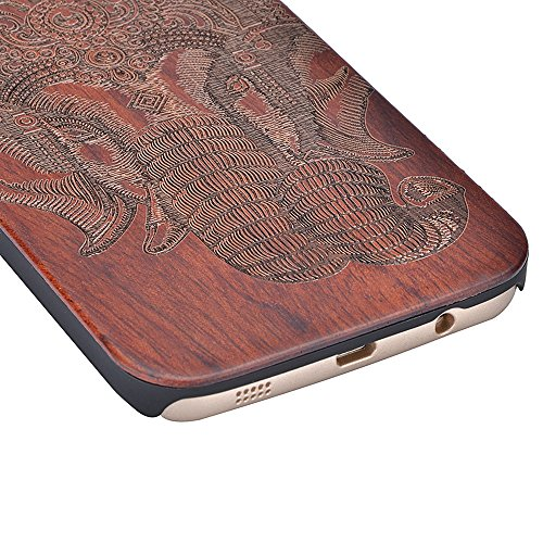 Sunroyal® Madera Shell Funda Cover Galaxy S7 Edge SM-G935F Caso Retro Madera Cubierta Caja de Bambú Premium Trasera Dura Contraportada Patrón Pattern Carcasa Hecho a Mano Funda Protección Wood Case Ca A-03