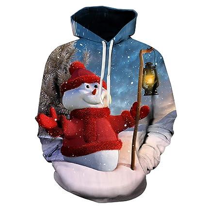 Sudaderas con Capucha BBsmile Impreso en 3D Muñeco de Nieve de Navidad Sombrero de Navidad Imprimiendo