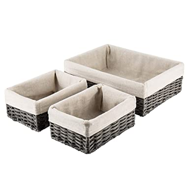 Hosroome Handmade Wicker Storage Baskets Set Shelf Baskets Woven Decorative Home Storage Bins Decorative Baskets Organizing Baskets Nesting Baskets(Set of 3,Grey)
