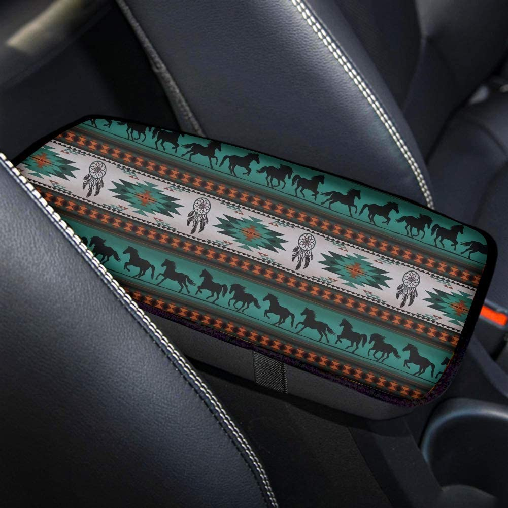 Car Accessories Set,Steering Wheel Cover 1 Pc+Armrest Box Cover 1 Pc+Safety Belt Cover 2 Pcs,Native Americans Southwest Horse Dream Catcher Style