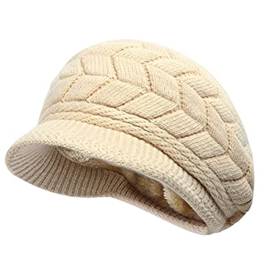 Opromo Winter Hats for Women Girls Warm Wool Knit Snow Ski Skull Cap with  Visor- eaf5e7baf881