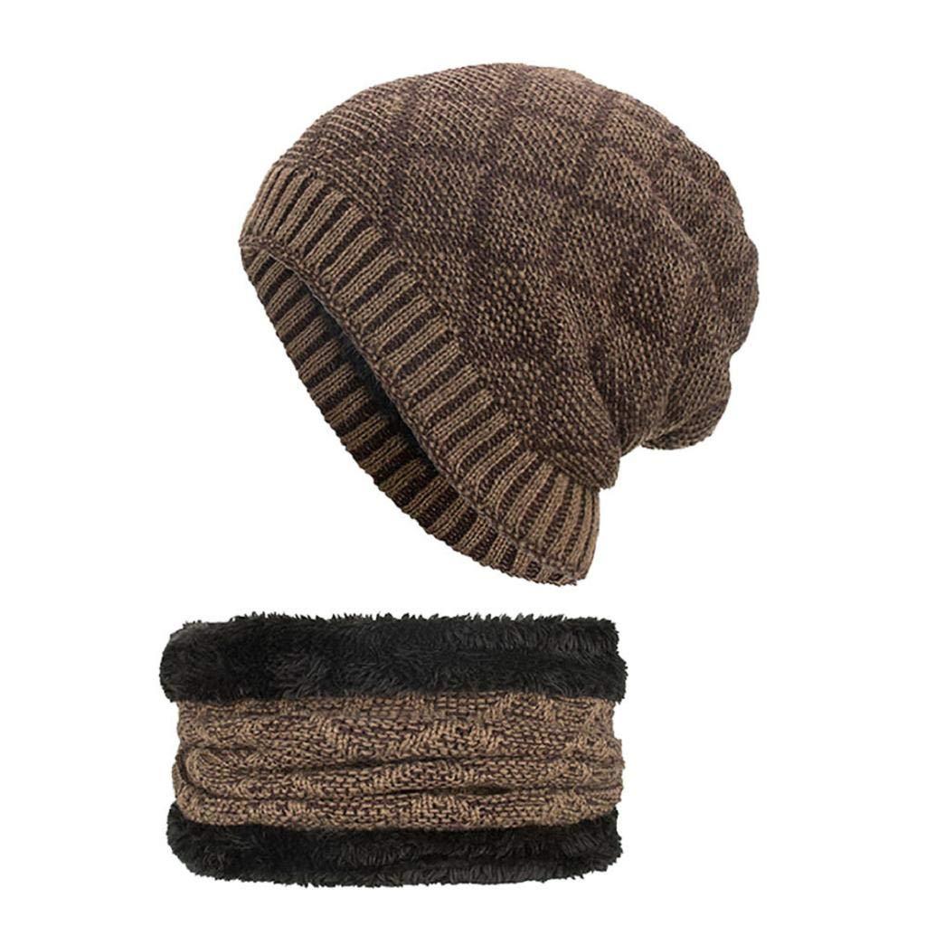 2-Pieces Winter Beanie Hat Scarf Set Warm Knit Hat Hat & Scarf for Men Women