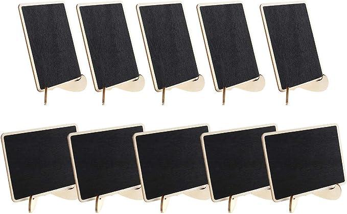 20pcs 9.5 7.5cm Mini Tableaux Noir Ardoise Table Rectangle avec Support Bois Tableaux M/émo Marque Place pour Panneaux /à Message Board Mariages F/êtes Party
