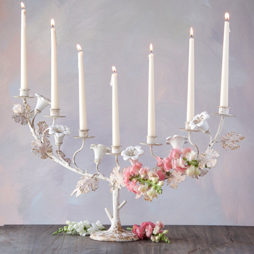 Metal Flower Taper Candle Holder