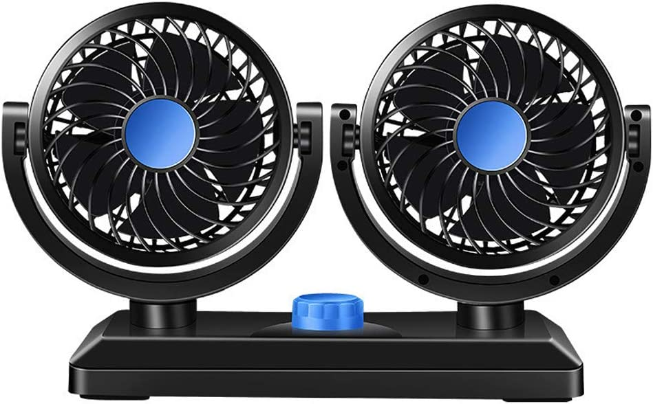 12V Electric Car Fan 360 Degree Rotatable 2 Speed Dual Head Fan Car Auto Cooling Air Circulator Fan Compatible for Sedan SUV RV Boat Auto Vehicles or Home