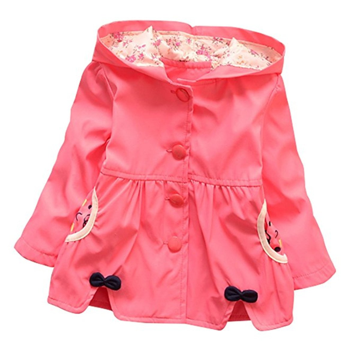 FAIRYRAIN Baby Kid Little Girls Spring Fall Coat Smiling Face Hooded Jacket Coat Outerwear