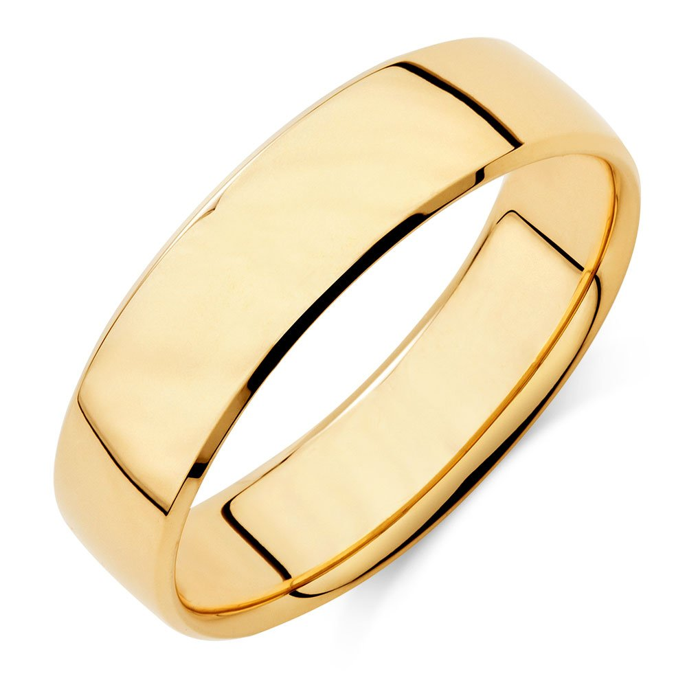 Dividiamonds 14k Yellow Gold Plated 6mm Plain Wedding Band Comfit for Mens /& Women