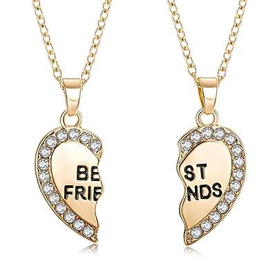 Amazon arinla best friend heart shape pendant necklace chain amazon arinla best friend heart shape pendant necklace chain set of 2 jewelry aloadofball Image collections