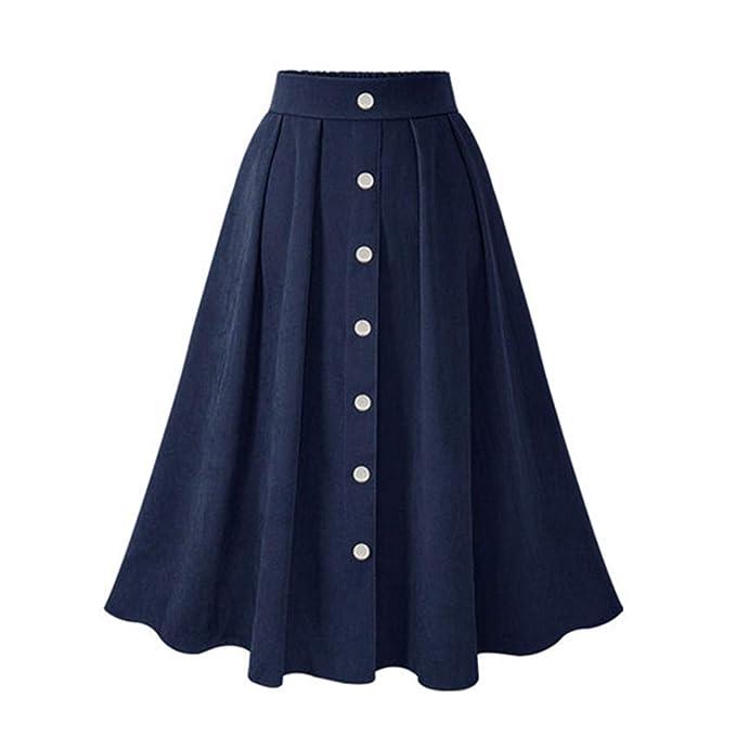 2c77a1cae Mujer Faldas Mujeres Faldas Plisadas Botón de Cintura Alta Elástica Falda  Media El Estilo Coreano Faldas Femeninas Moda Primavera Otoño Invierno  Parte ...