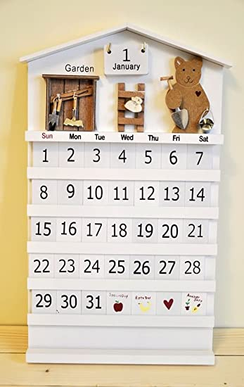 Creative Garden Theme Wooden Perpetual Monthly Wall Calendar Handmade For  Home, Office, School,