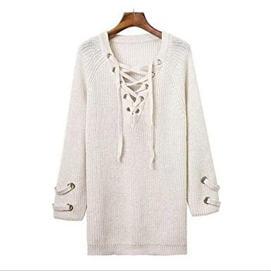 ad606d8fc831 KIKISHOPQ Women s Lace Up Front V Neck Long Sleeve Knit Pullover Sweater  Mini Dress Top(