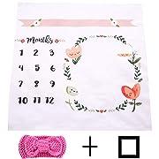 NinkyNonk Monthly Baby Milestone Blanket Newborn Photo Props Backdrop Baby's Age Blanket for Newborn Boys Girls - Baby Shower Gift (Floral B)
