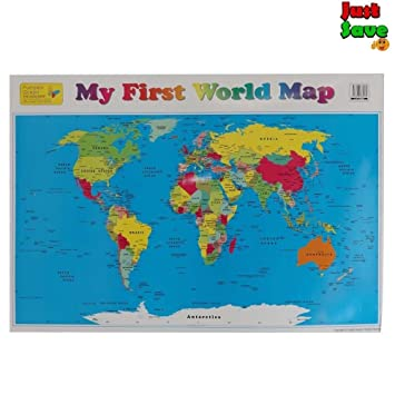 World map countries wall chart poster children early learning world map countries wall chart poster children early learning colourful 51x73cm gumiabroncs Gallery