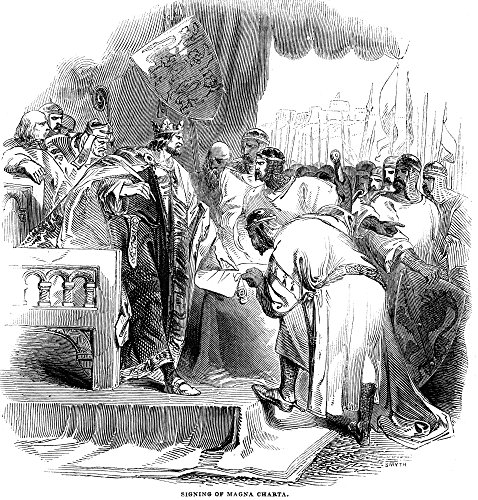 (Posterazzi 1167-1216. /Nking 1199-1216. King John Signing Magna Carta at Runnymede England 15 June 1215. Wood Engraving English 1843. Poster Print by (18 x 24))