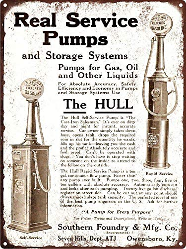 WallDector 1920 Hull Gasoline Gas Pump Service Station Iron Poster Painting Tin Sign Vintage Wall Decor for Cafe Bar Pub Home Beer Decoration Crafts ()