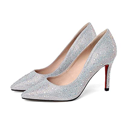 84a8fed3bd656 Amazon.com  CJJC Silver Wedding Shoes for Bridal