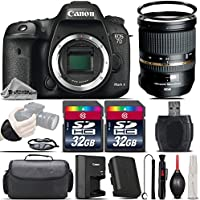 Canon EOS 7D Mark II DSLR Camera with Built-In GPS Receiver & Digital Compass + Tamron 24-70mm 2.8 VC Lens + 64GB Storage + Wrist Grip Strap + Case + UV Filter + Card Reader - International Version