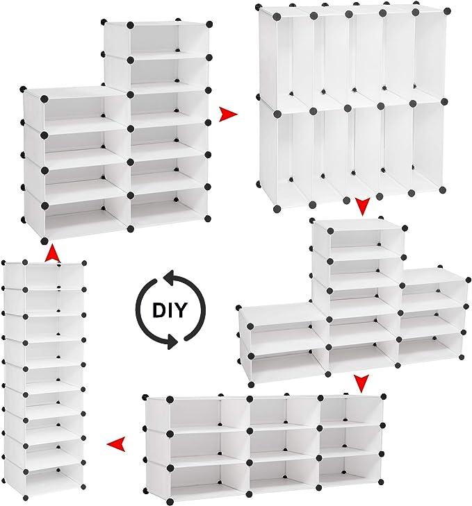 WOLTU SR0117ws+SR0117ws-TR Scarpiera Modulare con Ante Organizzatore Economico Scaffale Scompartimenti Guardaroba Traslucido Bianco