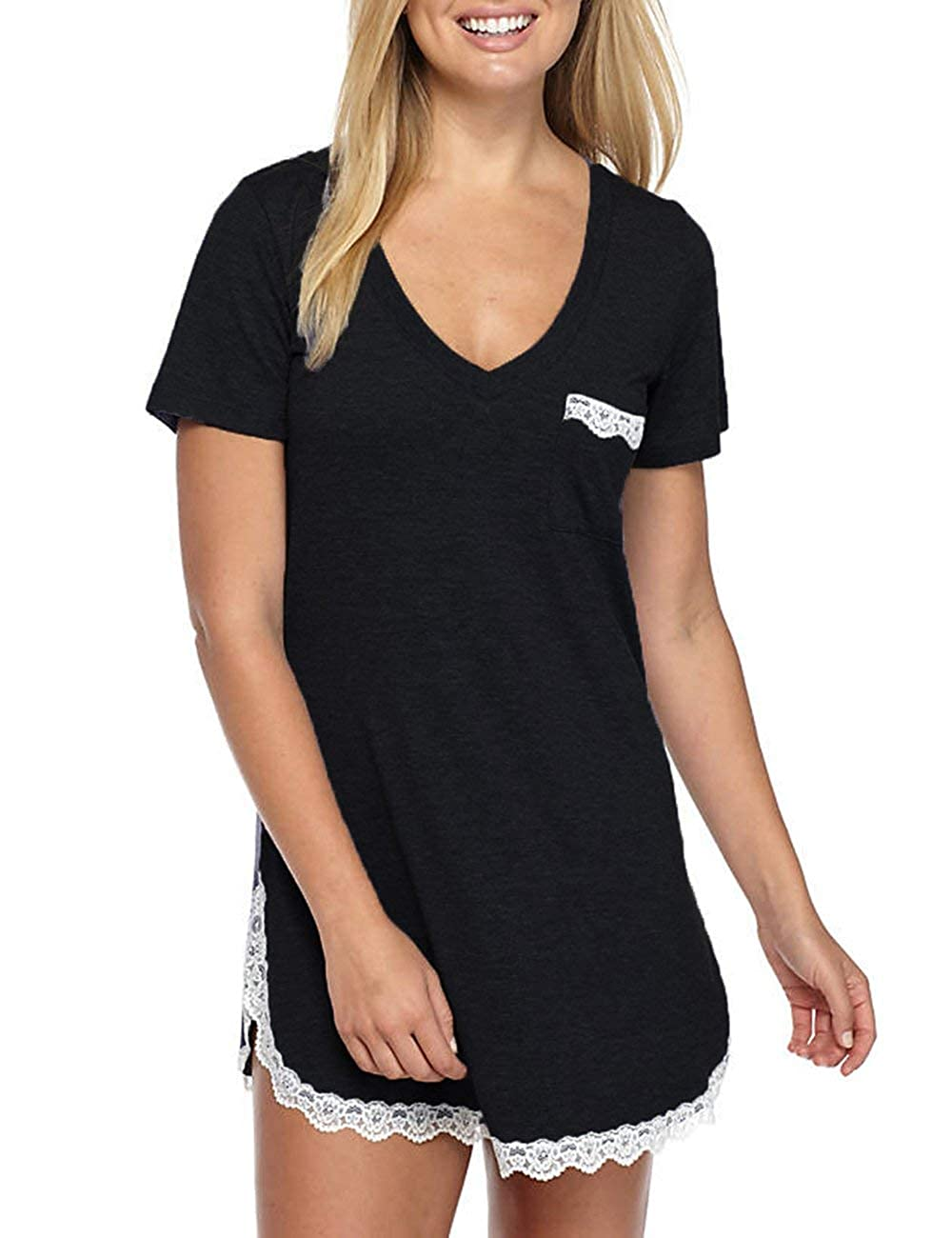 GUANYY Women's Nightgown Cotton Sleepshirt Sexy Lace Chemise Sleepwear (Black XLarge)