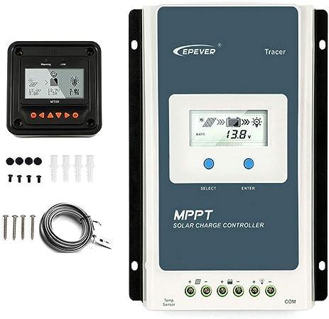 Contr/ôleur de charge solaire EPEVER MPPT Tracer A Series 10A//20A//30A//40A avec 12V//24V DC Identification automatique de la tension du syst/ème 10A