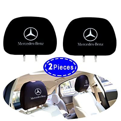 2PCS Car Headrest Covers for Mercedes-Benz, Black Comfortable Printed Logo Head Rest Covers for Mercedes-Benz Vehicles (Printed Mercedes-Benz): Automotive