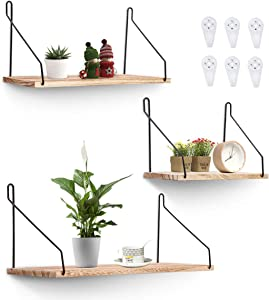 AGSIVO Floating Shelves Wall Mounted Shelves Set of 3,Rustic Storage Shelves for Bedroom,Home Decoration,Office,Bathroom,Living Room and Kitchen,3 Size