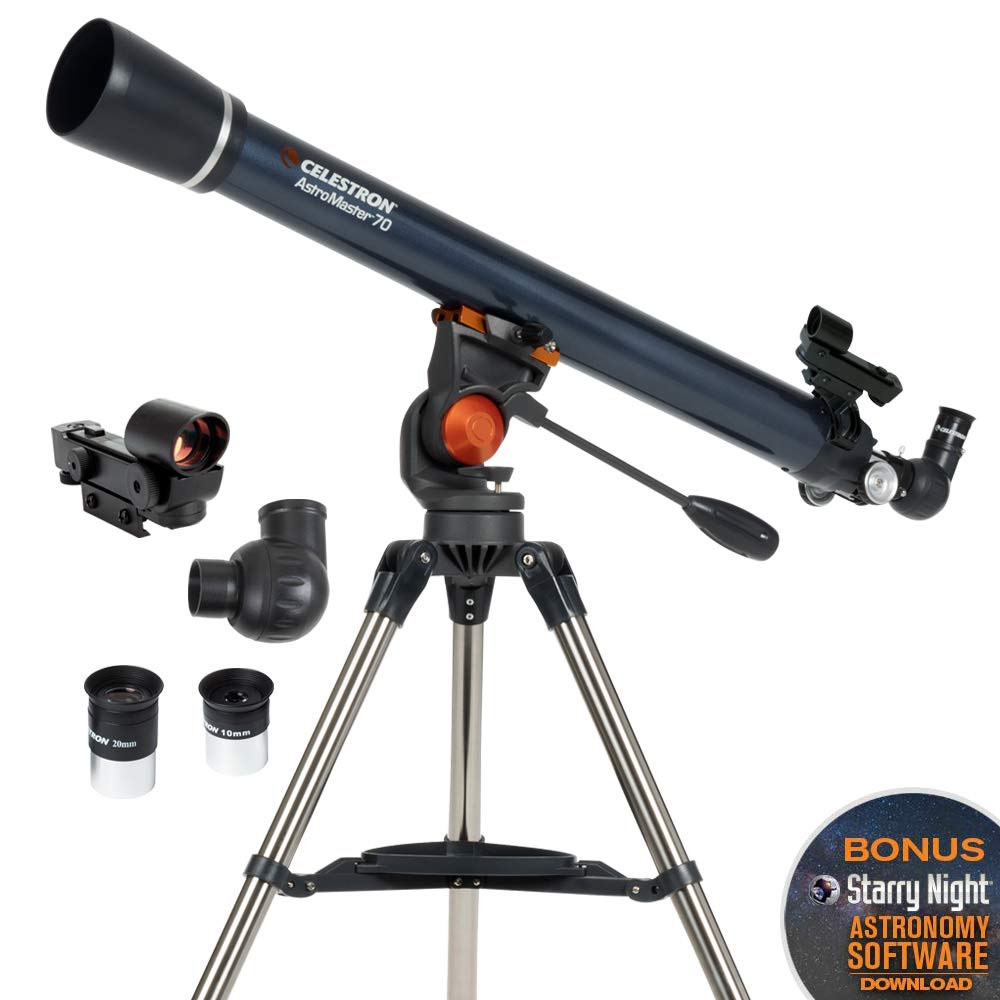 Celestron - AstroMaster 70AZ Refractor Telescope - Refractor Telescope for Beginners - Fully-Coated Glass Optics - Adjustable-Height Tripod - BONUS Astronomy Software Package by Celestron