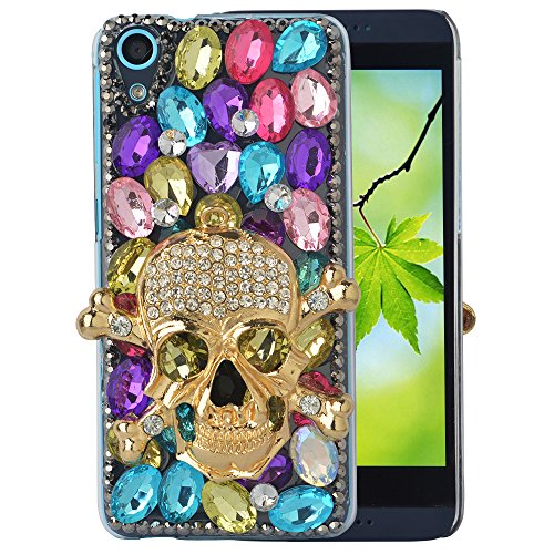 Spritech(TM) Bling Clear Phone For HTC Desire 626,3D Handmade Colorful Crystal Gold Skull Accessary Design Cellphone Cover