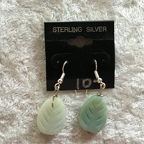 natural amazonite gemstone carved leaf sterling silver dangle earrings