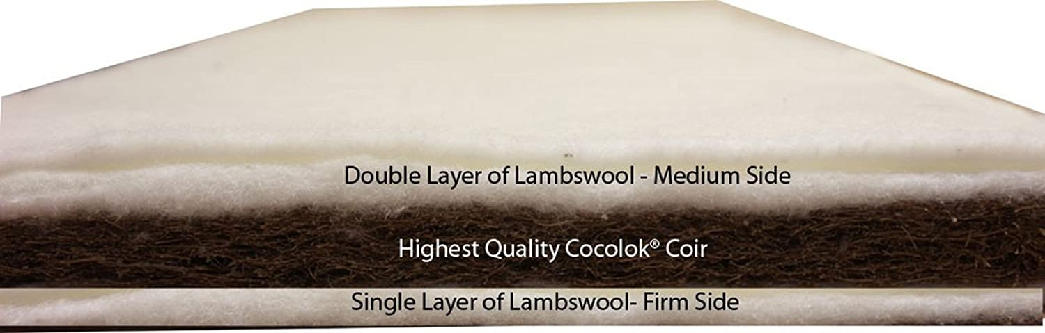 76 x 40 x 5cm Nightynite/® NaturalStart Crib Mattress with Natural Coir and Lambswool Support with Natural Waterproof Cover