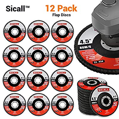 Sicall 12 Pack Flap Discs And Sanding Discs T29 40 Grit Cut-Off-Wheels Zirconia, Abrasive Grinding Wheel And Flap Sanding Stainless Steel, Abrasive For Metal Wood Ceramic