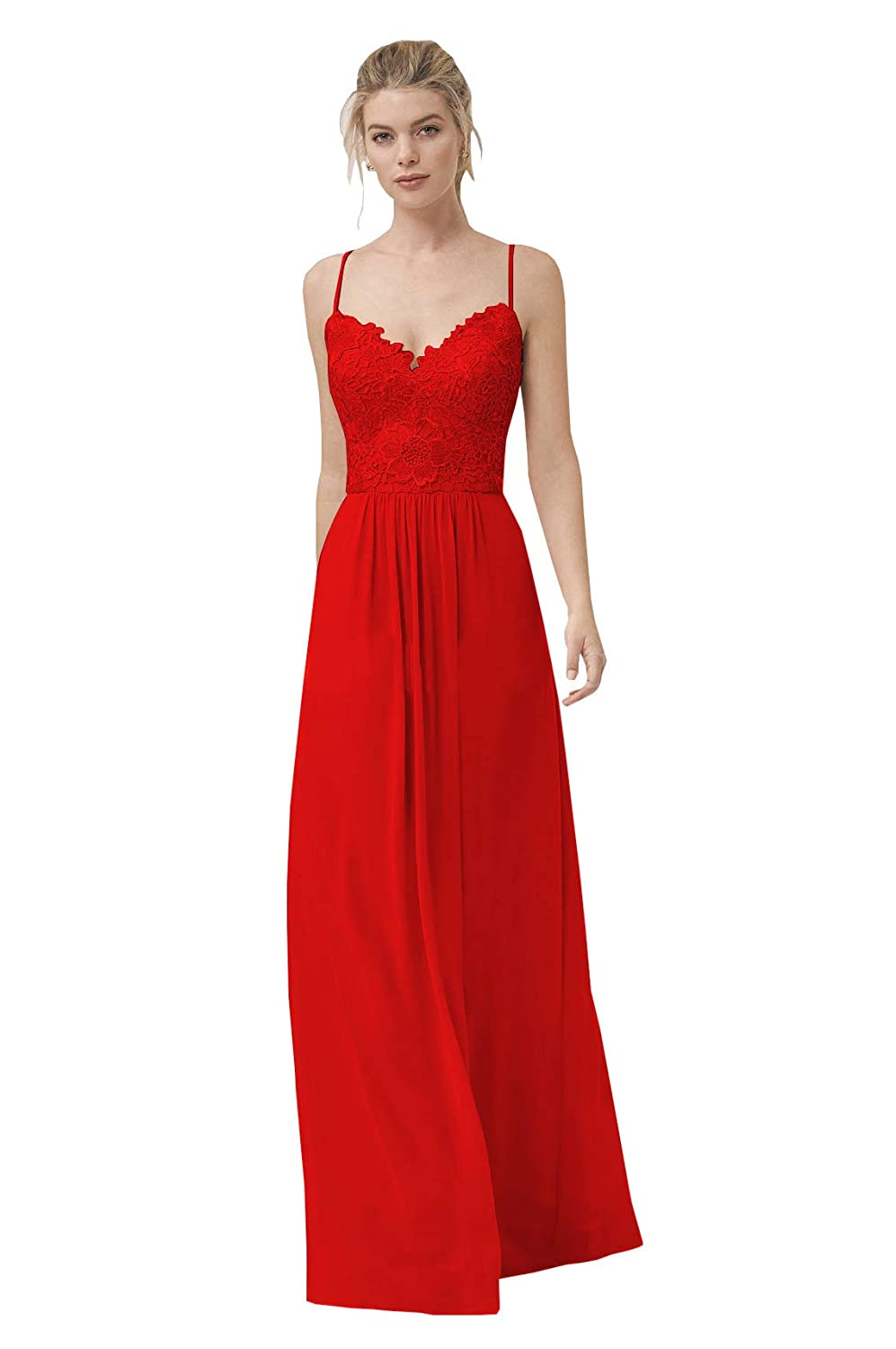 Now and Forever Womens Long Lace Chiffon Bridesmaid Dresses A-Line Spaghetti Straps V-Neck Formal Prom Gowns